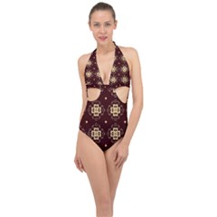 Seamless Ornament Symmetry Lines Halter Front Plunge Swimsuit