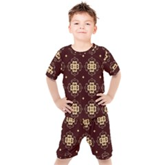 Seamless Ornament Symmetry Lines Kids  Tee And Shorts Set by Pakrebo