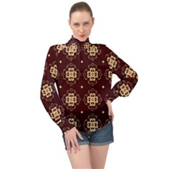 Seamless Ornament Symmetry Lines High Neck Long Sleeve Chiffon Top