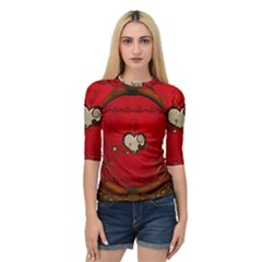 Beautiful Elegant Hearts With Roses Quarter Sleeve Raglan Tee by FantasyWorld7