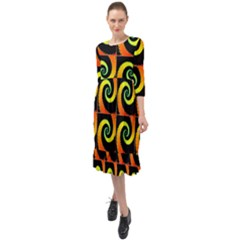 Spiral Seamless Pattern Fractal Ruffle End Midi Chiffon Dress