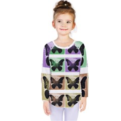 Seamless Wallpaper Butterfly Kids  Long Sleeve Tee