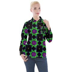Seamless Wallpaper Pattern Women s Long Sleeve Pocket Shirt
