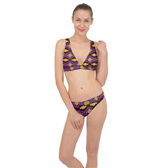 Seamless Wallpaper Digital Pattern Yellow Brown Purple Classic Banded Bikini Set