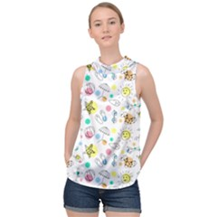 Summer Pattern Design Colorful High Neck Satin Top by Pakrebo