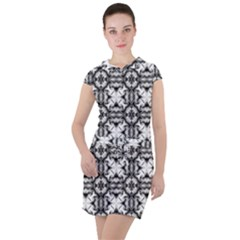 Seamless Wallpaper Pattern Ornamen Black White Drawstring Hooded Dress by Pakrebo