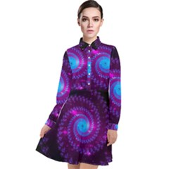 Fractal Spiral Space Galaxy Long Sleeve Chiffon Shirt Dress by Pakrebo