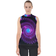 Fractal Spiral Space Galaxy Mock Neck Shell Top