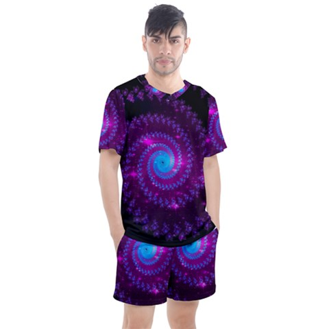 Fractal Spiral Space Galaxy Men s Mesh Tee And Shorts Set by Pakrebo