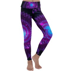 Fractal Spiral Space Galaxy Kids  Lightweight Velour Classic Yoga Leggings by Pakrebo
