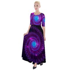 Fractal Spiral Space Galaxy Half Sleeves Maxi Dress
