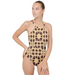 Seamless Pattern Ornament High Neck One Piece Swimsuit