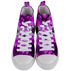 Fractal Pink Spiral Helix Women s Mid Top Canvas Sneakers