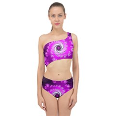 Fractal Pink Spiral Helix Spliced Up Two Piece Swimsuit