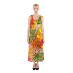 Tropical Coloured Bohemian 60 s Hippies Flowers Floral Pattern  Sleeveless Maxi Dress by InspiredImages
