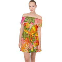 Tropical Coloured Bohemian 60 s Hippies Flowers Floral Pattern  Off Shoulder Chiffon Dress