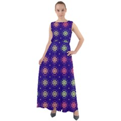 Flowers Pattern Ornament Symmetry Chiffon Mesh Maxi Dress