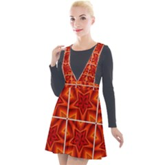 Pattern Seamless Stars Ornament Plunge Pinafore Velour Dress