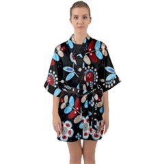 Bohemian Wild Flowers Spring Summer Floral Pattern  Quarter Sleeve Kimono Robe by InspiredImages