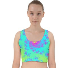 Spiral Fractal Abstract Pattern Velvet Racer Back Crop Top