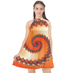 Fractal Rendering Spiral Twist Orange Halter Neckline Chiffon Dress