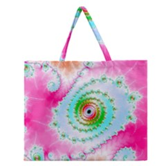 Fractal Spiral Twist Twisted Helix Zipper Large Tote Bag