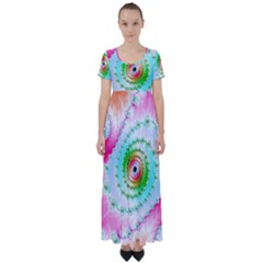Fractal Spiral Twist Twisted Helix High Waist Short Sleeve Maxi Dress by Pakrebo