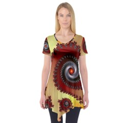 Fractal Rendering Spiral Twist Short Sleeve Tunic