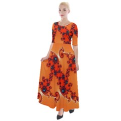 Fractal Rendering Spiral Curve Orange Half Sleeves Maxi Dress by Pakrebo