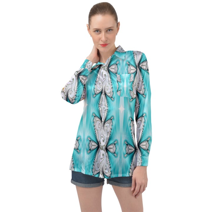 Seamless Wallpaper Pattern Symmetry Art Long Sleeve Satin Shirt