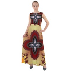 Kaleidoscope Fractal Pattern Chiffon Mesh Maxi Dress