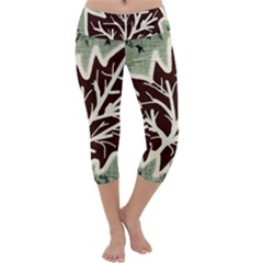 Drawing Autumn Leaves Season Capri Yoga Leggings by Pakrebo