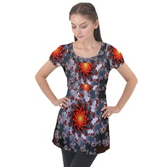 Fractal Spiral Rendering Curve Puff Sleeve Tunic Top by Pakrebo