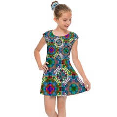 Seamless Pattern Decoration Kids  Cap Sleeve Dress
