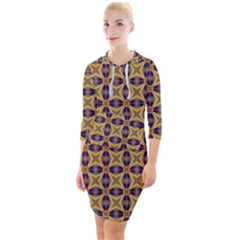 Seamless Wallpaper Pattern Ornament Vintage Quarter Sleeve Hood Bodycon Dress