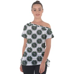 Graphic Pattern Flowers Tie Up Tee by Pakrebo