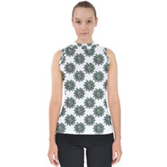 Graphic Pattern Flowers Mock Neck Shell Top