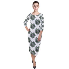 Graphic Pattern Flowers Quarter Sleeve Midi Velour Bodycon Dress