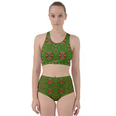 Seamless Wallpaper Digital Art Green Red Racer Back Bikini Set
