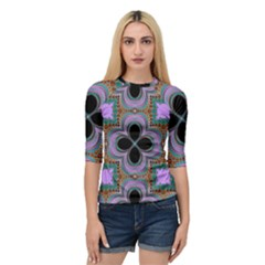 Seamless Wallpaper Pattern Ornament Art Pattern Quarter Sleeve Raglan Tee