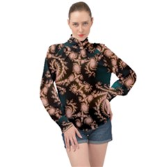 Fractal Pattern Abstraction High Neck Long Sleeve Chiffon Top