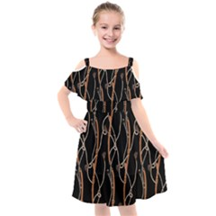 Chains Glam Pattern Kids  Cut Out Shoulders Chiffon Dress by tarastyle