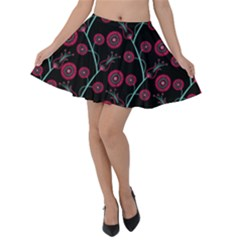 Pink & Blue Floral Pattern On Black Velvet Skater Skirt by InspiredImages
