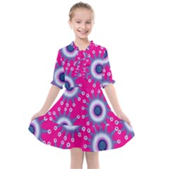 Star Flowers Pink & Purple Spring Summer Floral Pattern Kids  All Frills Chiffon Dress by InspiredImages