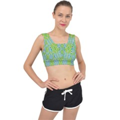 Seamless Pattern Ornament Design V Back Sports Bra