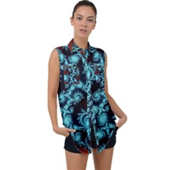 Fractal Spiral Abstract Pattern Art Sleeveless Chiffon Button Shirt