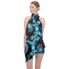 Fractal Spiral Abstract Pattern Art Halter Asymmetric Satin Top