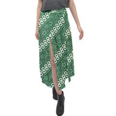 Batik Pattern Java Indonesia Velour Split Maxi Skirt by Pakrebo