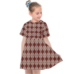 Brown Tiles Leaves Wallpaper Kids  Sailor Dress by Pakrebo