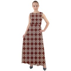 Brown Tiles Leaves Wallpaper Chiffon Mesh Maxi Dress